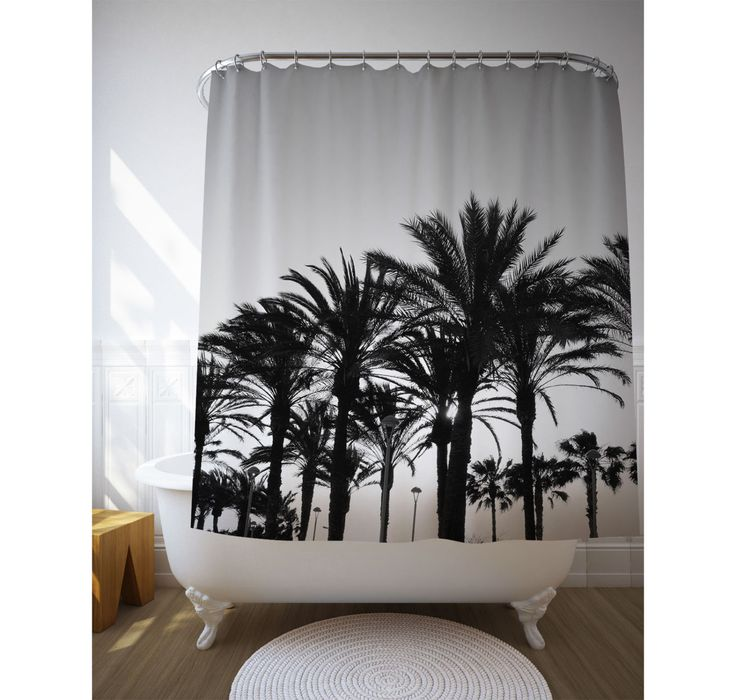 Black And White Palm Trees Shower Curtain Tropical Bathroom Decor Bath Decoration
