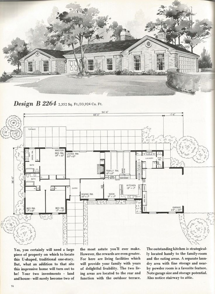 Best 25 vintage house plans ideas on pinterest bungalow for Mid century floor plans