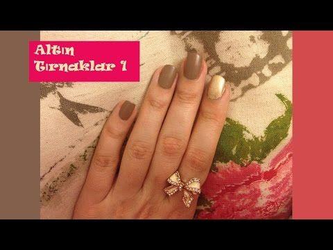 Nail Art - Altın Motifli Kabartmalı Tırnaklar (golden nails) - YouTube