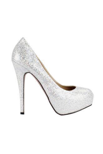 Shining Pu Upper Stiletto Heel Closed Toe Wedding Shoes