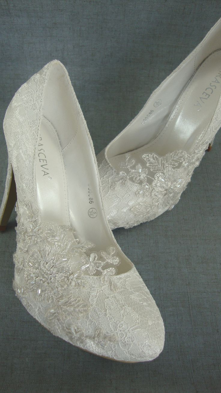 Beaded Lace Wedding Shoes
