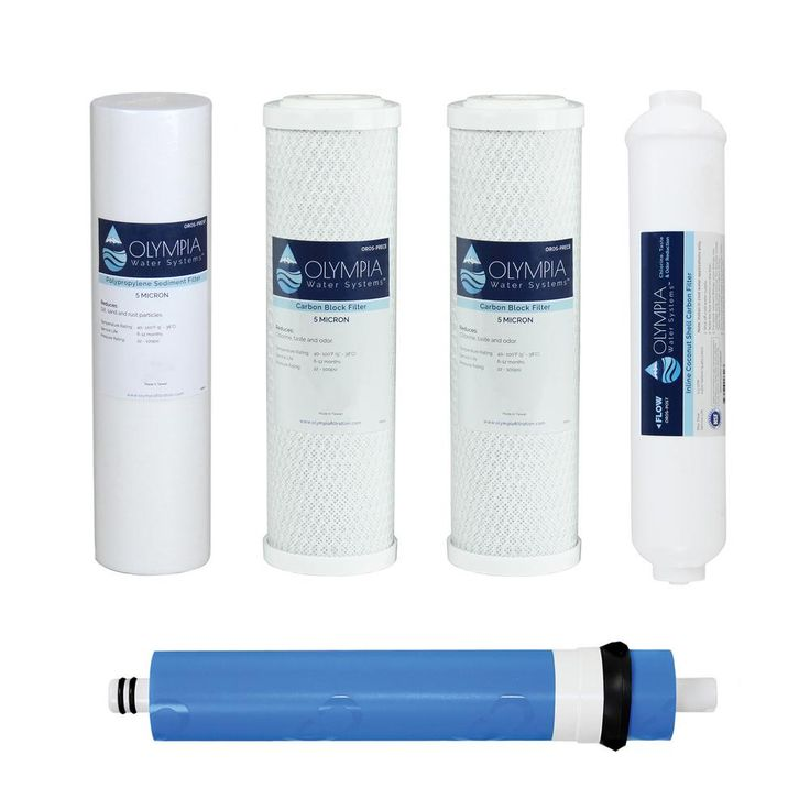 Complete 50GPD 5-Stage Replacement Filter Set for Industry Standard Size Reverse Osmosis System