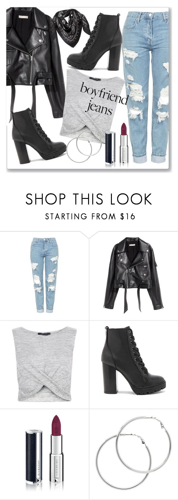 """Boyfriend Jeans"" by chulipatin ❤ liked on Polyvore featuring Topshop, SKINN, New Look, Steve Madden, Givenchy, Melissa Odabash and MCM"