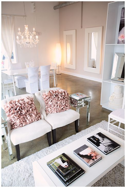 blush and white studio space, office, photography space, ruffled pillows copyright @Kristin Vining Photography @Weddings and the City