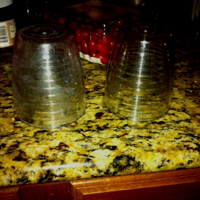 Cleaning cloudy glasses before and after. Put vinegar, water, and dish detergent in the sink and let them sit for an hour. Then I rinsed and dried them. My Tervis tumblers were like new!!!!