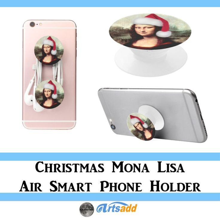 Christmas Mona Lisa with Santa Hat Air Smart Phone Holder at #Artsadd by #Gravityx9 ~ #Spoofingthearts #monalisa #StockingStuffers #electroniccare