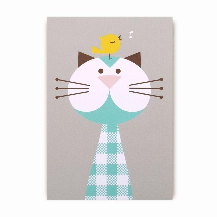 Greeting card cute cat & little bird from www.kidsdinge.com