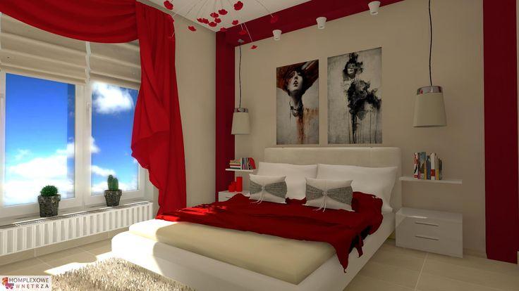 Aranżacja sypialni wystrój nowoczesny, romantyczny w kolorach biały, czerwony - projekt wnętrza o id 6633692 w Homplex.pl, Zestaw wyposażenia za 21697 zł ($6780)
