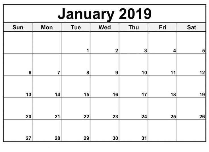 Calendar January 2019 Printable Images Calendar January 2019