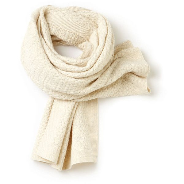 Lacoste Women's Cable Knit Scarf ($150) ❤ liked on Polyvore featuring accessories, scarves, vanilla yellow chine, lacoste, yellow scarves, yellow shawl, cable knit shawl and cable knit scarves
