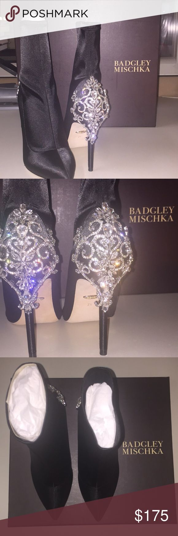 Badgley Mischka Meg Stretch Sat Evening Boot This is a black satin bootie. Features embellished geek and pointed toe. This shoe has never been worn it was a Christmas gift that wasn't my style. Comes with box, dust bag, and replacement embellishments (pictured above).  ❌ NO TRADES  ✅OFFERS WELCOME Badgley Mischka Shoes Ankle Boots & Booties