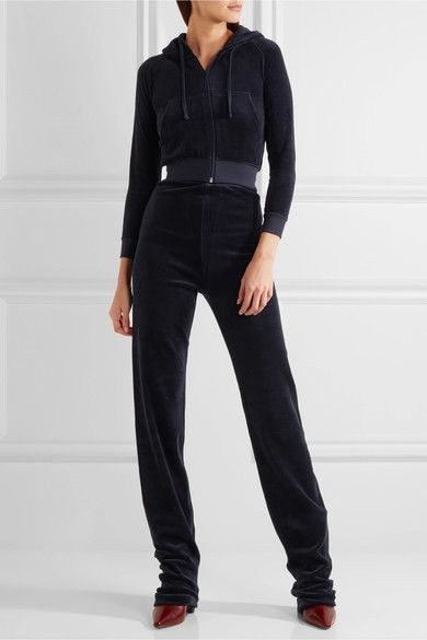 Vetements - Juicy Couture Embroidered Cotton-blend Velvet Tracksuit - Midnight blue - large