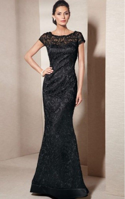 Short Elastic Woven Satin Sheath Scoop Floor-length Evening Dresses