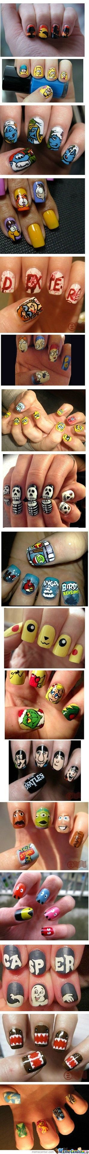 The Simpsons, Garfield, Dexter, The Smurfs, Sponge Bob, Angry Birds, The Beatles, The Grinch, Pokemon, Toy Story, Casper the Friendly Ghost, Pac-Man, Domo, and more geeky Nails