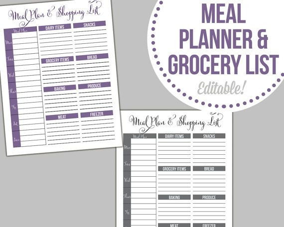 meal planner and shopping list