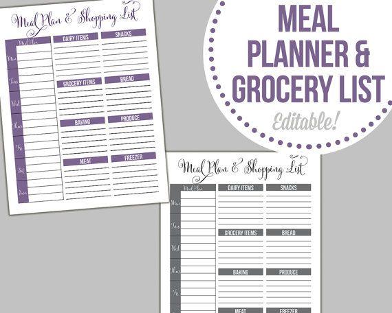 Editable Meal Planner Calendar : Meal planner and shopping list editable fillable pdf