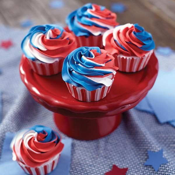 Red, White and Blue Swirled Cupcakes