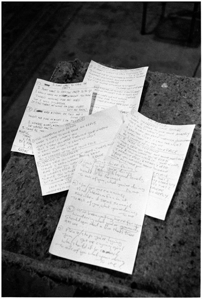 "13659167_10154342314169539_764466207596961Handwritten lyrics for ""No Reply"", ""I Don't Want to Spoil the Party"" and ""What You're Doing"" lay on a table in the Abbey Road Studios, during a recording session.     Photo © Apple Corps Ltd.0456_n.jpg (648×960)"