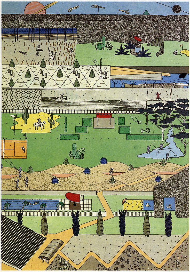 OMA, Proposal for Parc de la Villette, Paris, France, 1984 (via rndrd)