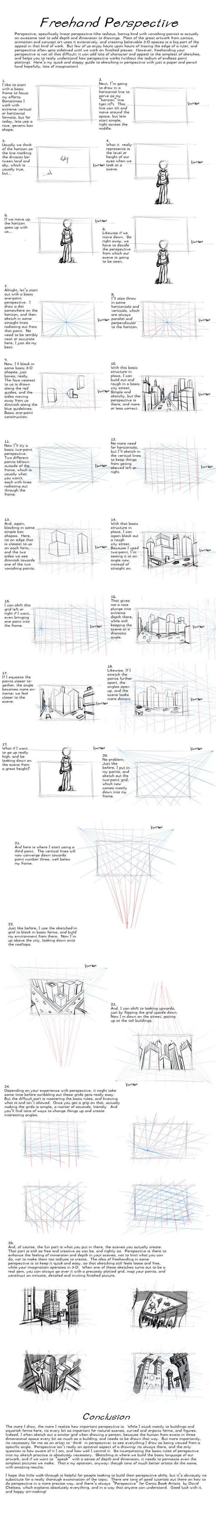 Freehand Perspective Drawing Tutorial by AdamMasterman.deviantart.com on @deviantART