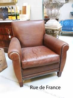 ART DECO STYLE LEATHER STUDDED VINTAGE ARM CHAIR