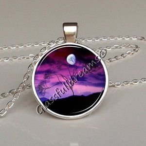 Lavender view pendant, Lavender view necklace night tree, violet pendant, purple necklace, dream night, nature jewelry, glass pendant, picture pendant, christmas gifts necklace Glassfulldreams jewelry
