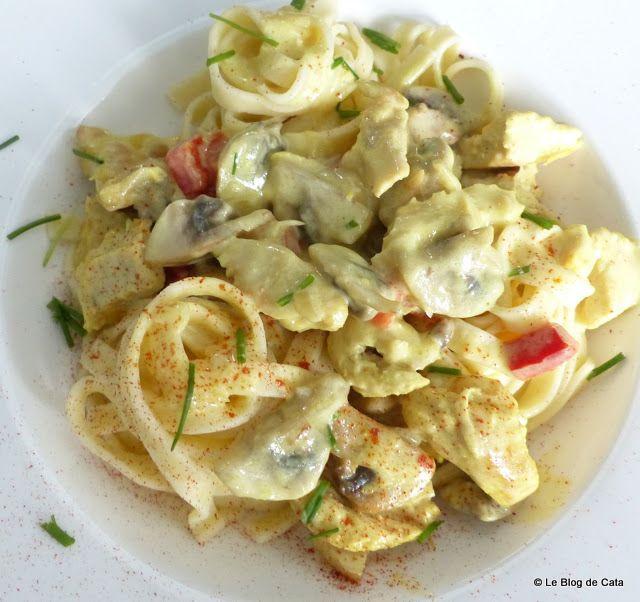 Blogul lui Catalina: Paste Fettuccini cu curcan, smantana si ciuperci