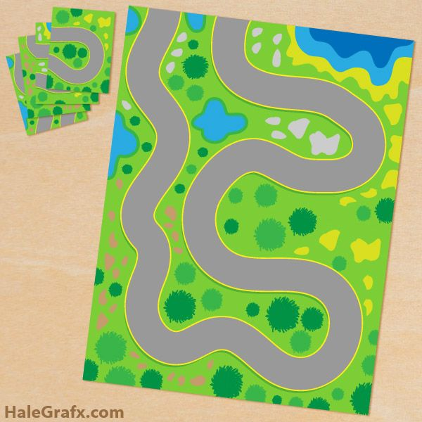 free printable play mat for toy cars prints onto 4 sheets of paper to make