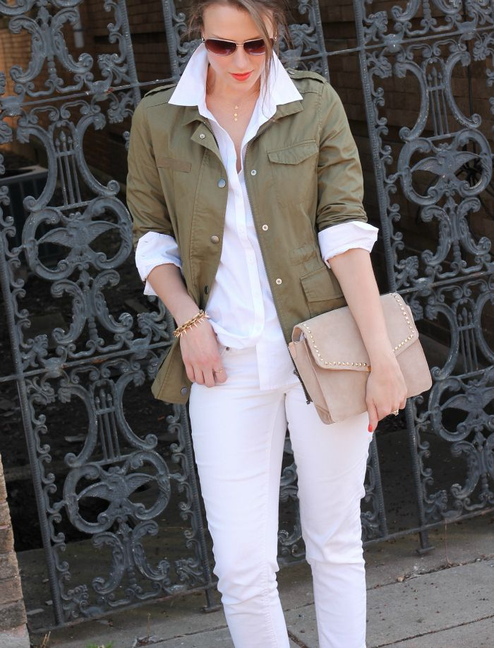 Always looking for fresh ways to wear my utility jacket. All white it cute! Penny Pincher Fashion: Polished Casual
