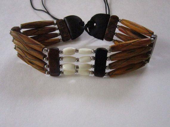 Brown & White Choker Buffalo Bone Geronimo Regalia Pow Wow Indian