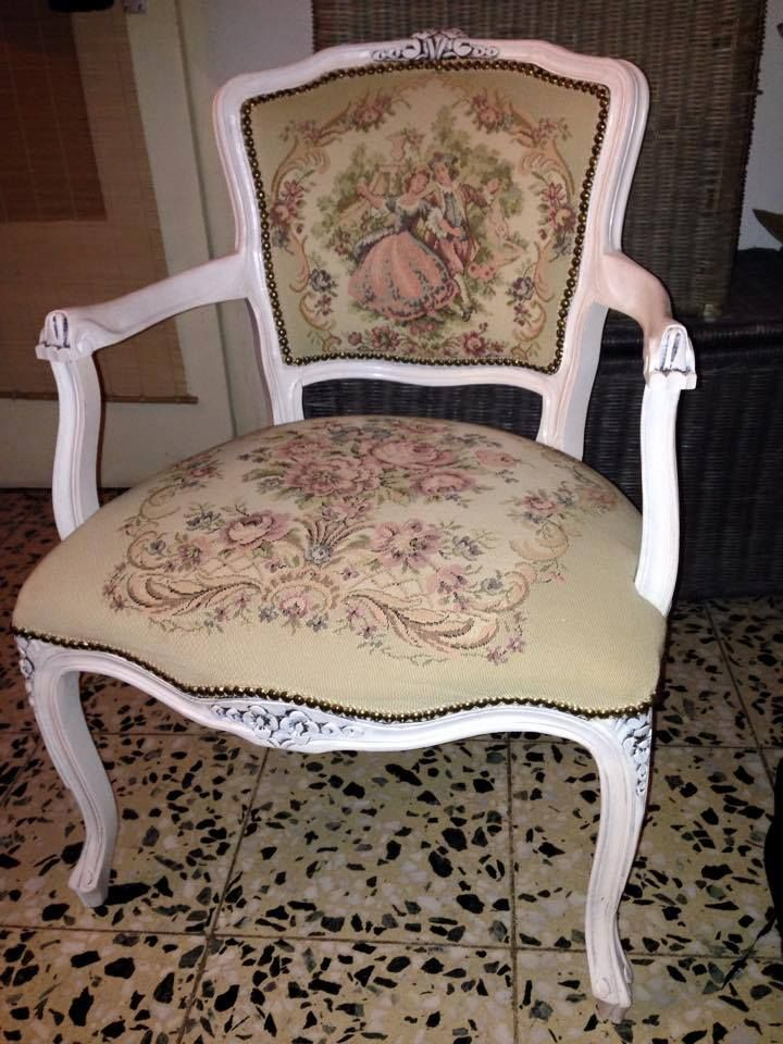 Beautiful Idea For My French Tapestry Arm Chair: French Arm Chair With Gobelin ( Tapestry) Painted White.