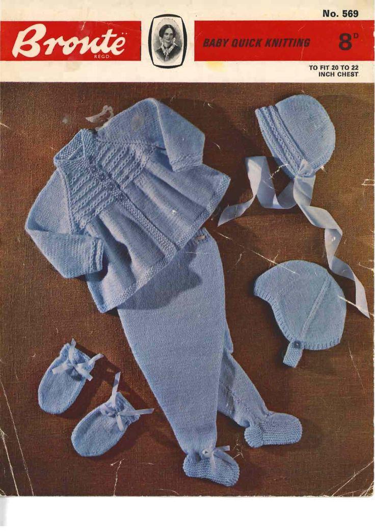 Bronte 569, Double Knit Pram Set, PDF Vintage Knitting Pattern, 20-22 inches Pram Set - pinned by pin4etsy.com