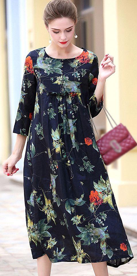 eed7d06249 Retro O-Neck Long Sleeve Floral Print A-Line Dress