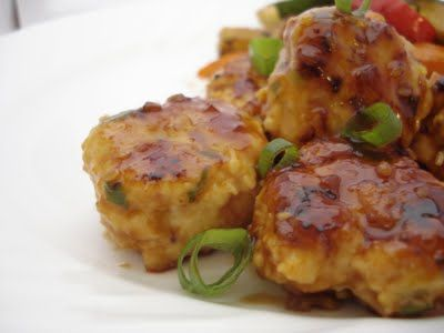 asian chicken meatballs with teriyaki glaze-added pineapple and peppers, pineapple juice