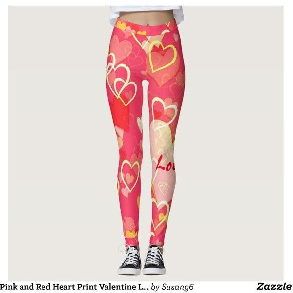 Pink and Red Heart Print Valentine Leggings ($67) found on Polyvore featuring women's fashion, pants, leggings, pink pants, pink leggings, red pants, red leggings and pink trousers