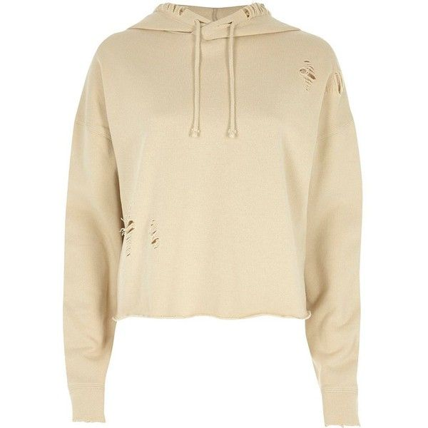River Island Beige distressed raw cut cropped hoodie ($50) ❤ liked on Polyvore featuring tops, beige, hoodies / sweatshirts, women, long sleeve tops, loose fit crop top, brown crop top, loose long sleeve tops and river island