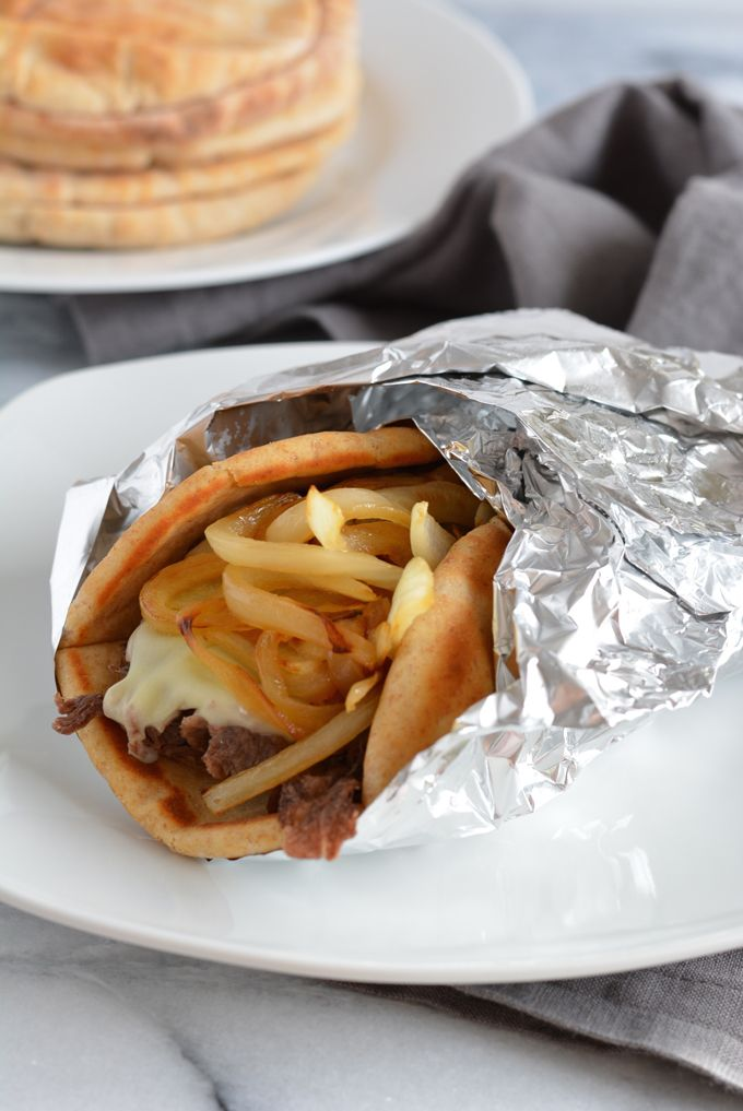 #AD: Classic Philly Cheese Steak Pita Sandwich gives you less total carbs than the traditional roll.
