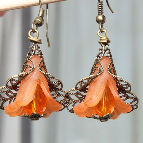 Orange Earrings Flower Earrings Lucite Dangle Earrings