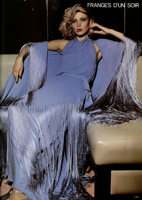 Givenchy 1970s periwinkle blue gown and wrap long color photo print ad model magazine