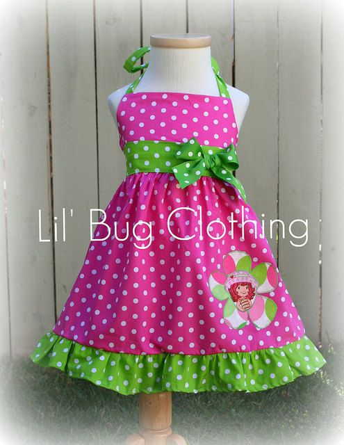 Custom Boutique Clothing Strawberry Shortcake 1 Piece Jumper Dress Pink Lime. $39.99, via Etsy.