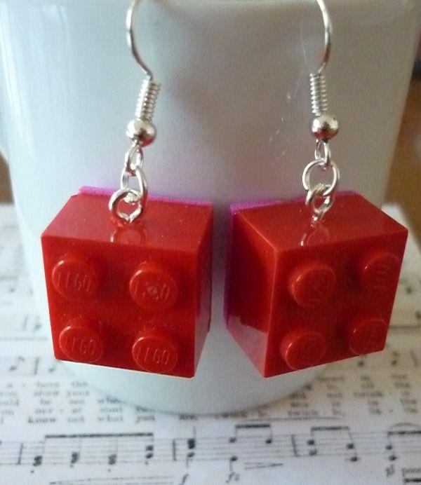Réservé Boucles d'oreilles lego carré rouge et mousse. : Bijoux enfants par laboiteabijouxnanny