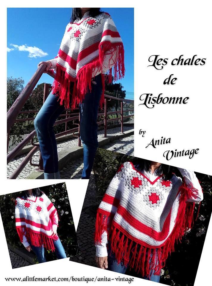 www.alittlemarket.com/boutique/anita-vintage www.etsy.com/shop/AnitaVintageCreation  Châle, poncho, élégant, crochet