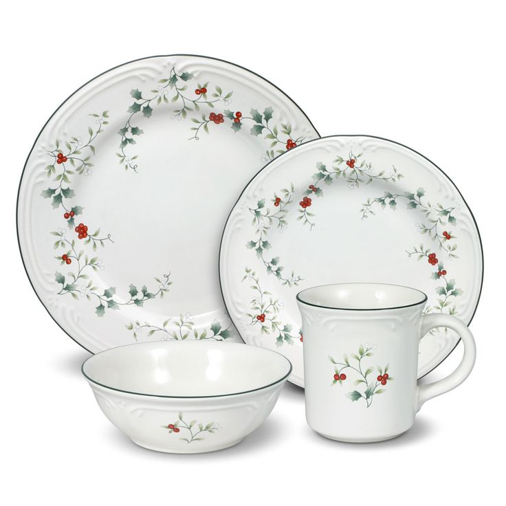 32 piece dinnerware set, service for eight, includes (8) each: 10-1/2 inch dinner plate, 8 inch salad plate, 12 ounce soup cereal bowl, and 13 ounce mug. Microwave and...