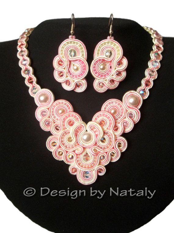OOAK Soutache Jewelry Necklace Earrings Pink by DesignByNataly, $70.00