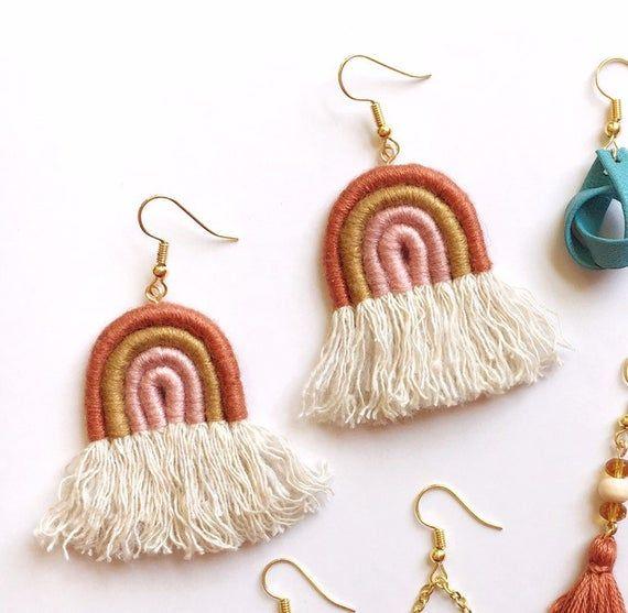 Macrame Rainbow Macrame Earrings Royalty