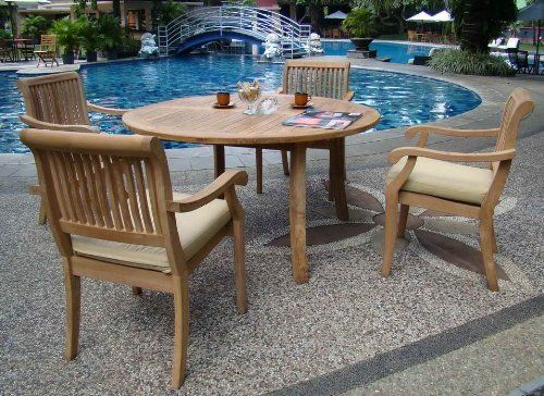 New pc luxurious grade a teak dining set quot round