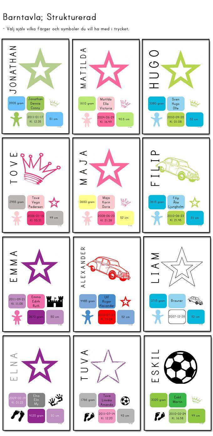 Doptavla/ namntavla där alla barnets födelseuppgifter finns med. Välj själv vilka färger du vill ha på motivet. Självklart ska du välja så att det passar in i just ert barnrum. Kanske pastelliga färger eller mer klara och klatschiga? Passa fint som doppresent.