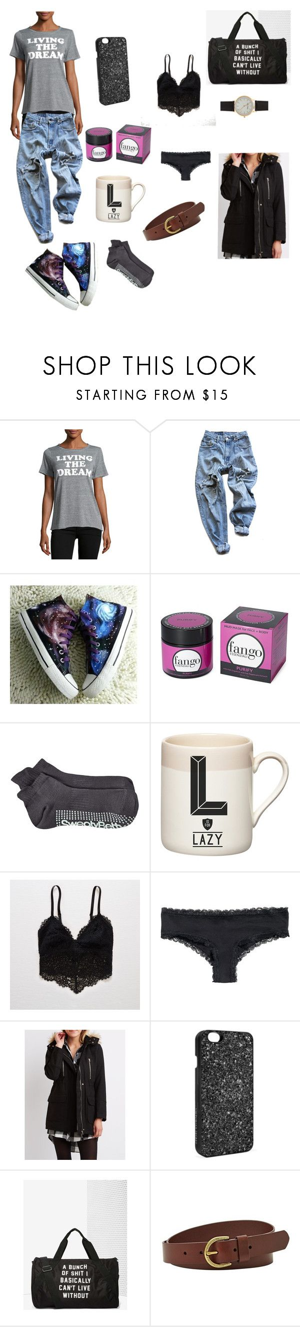 """Living the dream ☁️"" by petalsonaflower ❤ liked on Polyvore featuring Chaser, Levi's, HVBAO, Borghese, Sweaty Betty, Gary Birks Design, Aerie, Charlotte Russe, Victoria's Secret and FOSSIL"