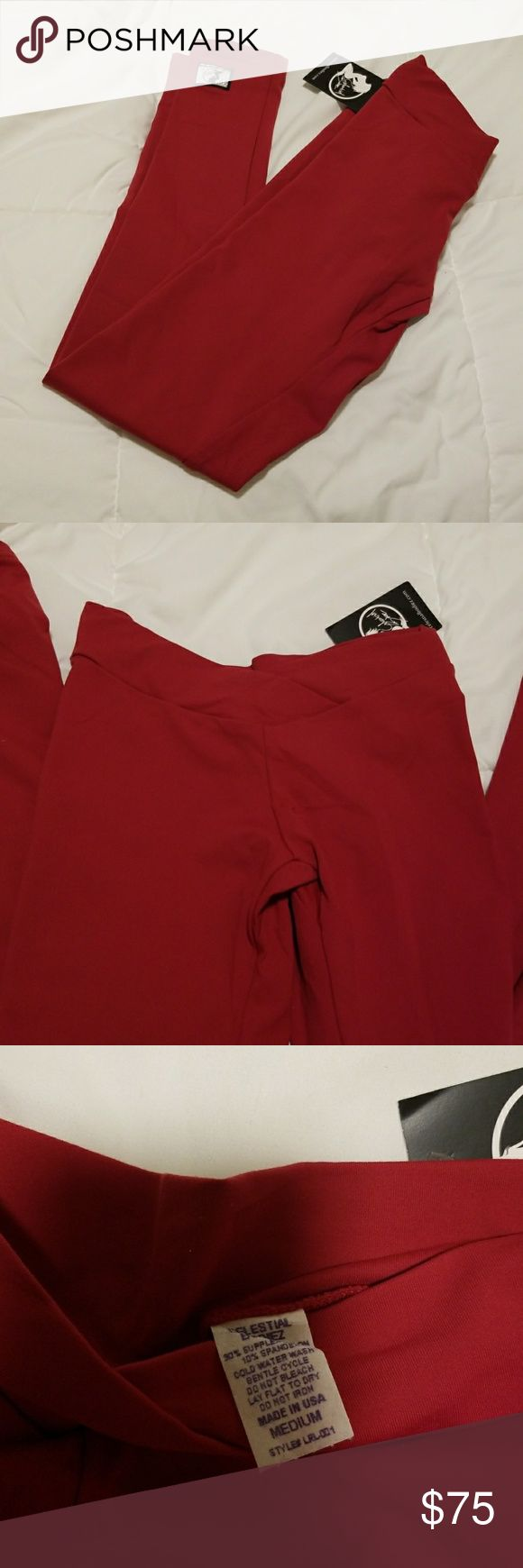 Celestial Bodiez leggings Super pretty deep red color, v cut full length scrunch butt leggings.  Brand new , tags ripped but will include . Purchased recently , selling because too big on me . Per size guide fits 4-8. Tag  gymshark  for exposure only! Celestial Bodiez Pants Leggings