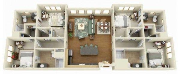 4 Bedroom Apartment House Plans 29 Home Layout Example Interiordesignideasforsmallspaces Interiordesignideas Interiordesigni Denah Rumah Rumah Desain Rumah